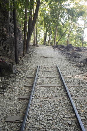 world war 2: the Hillfire Pass of the Burma-Thailand Railway Construction of the World War 2 north of the City of Kanchanaburi in Central Thailand in Southeastasia. Stock Photo