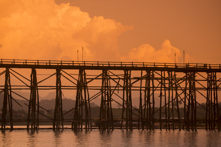 wang: the Wang Kka Wooden Bridge in the  landscape at the Khao Laem Lake in the Village of Sangkhlaburi north of the City of Kanchanaburi in Central Thailand in Southeastasia.