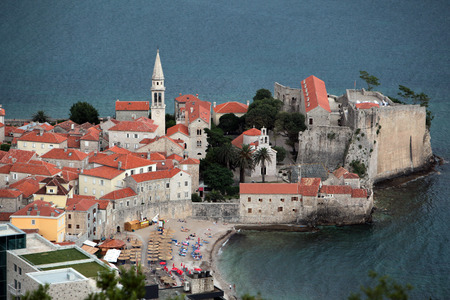budva: the old town of Budva at the adriatic sea in Montenegro in the balkan in east europe.