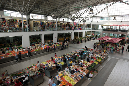 east europe: the Market in the city of Podgorica in Montenegro in the balkan in east europe.