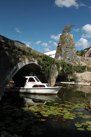east europe: the town of Virpazar at the Skadar Lake in Montenegro in the balkan in east europe. Editorial