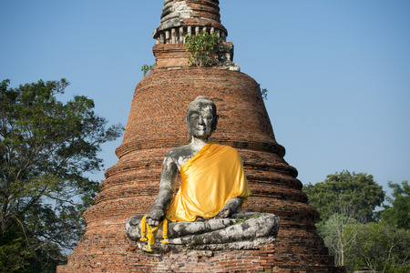 smal: a buddha at a smal Temple of the Historical park in the city of Ayutthaya north of bangkok in Thailand in southeastasia.