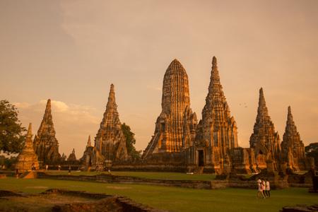 the Wat chai wattanaram in the city of Ayutthaya north of bangkok in Thailand in southeastasia. Reklamní fotografie
