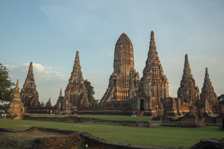 the Wat chai wattanaram in the city of Ayutthaya north of bangkok in Thailand in southeastasia. Stock Photo