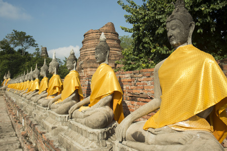 a buddha at the Wat yai chai mongkhon in the city of Ayutthaya north of bangkok in Thailand in southeastasia.