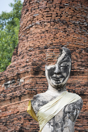 thai buddha: a buddha at a smal Temple of the Historical park in the city of Ayutthaya north of bangkok in Thailand in southeastasia.