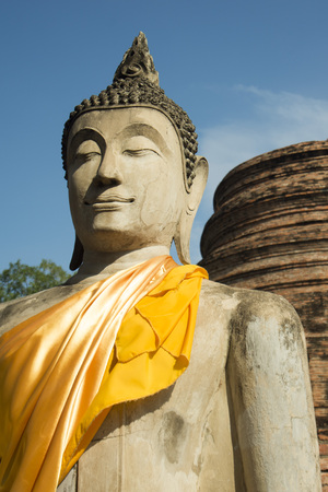 yai: a buddha at the Wat yai chai mongkhon in the city of Ayutthaya north of bangkok in Thailand in southeastasia.