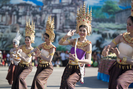 tradition: traditional Thai Dance at the Elephant Square in the city centre of Surin at the Elephant Round-up Festival in the city of Surin in Northeastern Thailand in Southeastasia.
