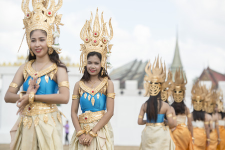 thai dance: Traditional Thai Dance Girls at the Elephant Round-up Festival in the city of Surin in Northeastern Thailand in Southeastasia. Editorial