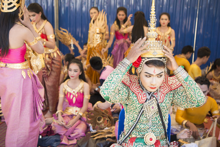 nem: Traditional Thai Dance at the Elephant Round-up Festival in the city of Surin in Northeastern Thailand in Southeastasia.