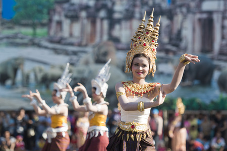 traditional Thai Dance at the Elephant Square in the city centre of Surin at the Elephant Round-up Festival in the city of Surin in Northeastern Thailand in Southeastasia.