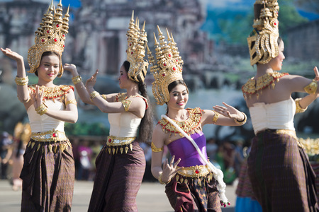 thai dance: traditional Thai Dance at the Elephant Square in the city centre of Surin at the Elephant Round-up Festival in the city of Surin in Northeastern Thailand in Southeastasia.