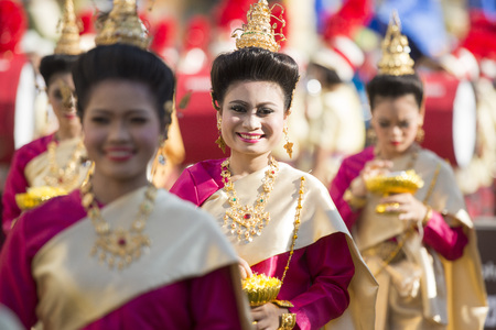 traditional Thai Dance at the Elephant Square in the city centre of Surin at the Elephant Round-up Festival in the city of Surin in Northeastern Thailand in Southeastasia. Editorial