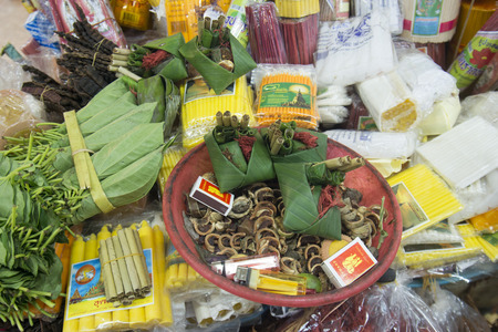 Betel Nut and Areca Nut at the Warorot Market in the city of Chiang Mai in North Thailand in Thailand in southeastasia.