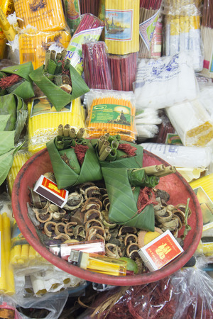 betelnut: Betel Nut and Areca Nut at the Warorot Market in the city of Chiang Mai in North Thailand in Thailand in southeastasia.