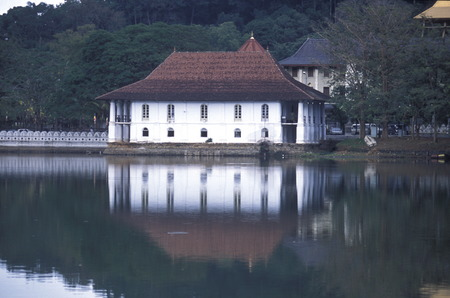 asien: the Kandy lake in the town of Kandy of Sri Lanka in Asien.