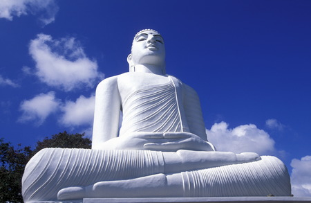 kandy: the Big Buddha at the Kandy Temple in the town of Kandy of Sri Lanka in Asien.