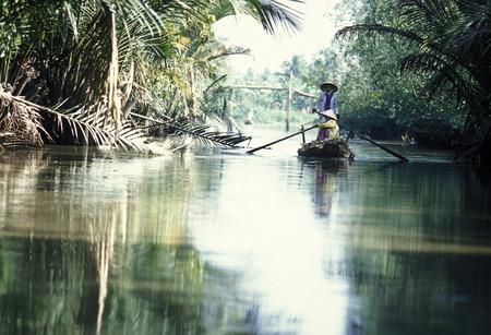 小さな木の近く、カントー市ベトナムのメコンデルタでメコン川でのボート