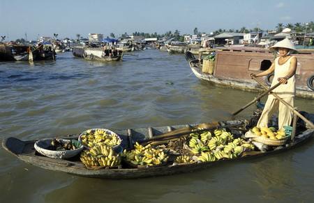 mekong river: People at the Flooting Market on the Mekong River near the city of Can Tho in the Mekong Delta in Vietnam