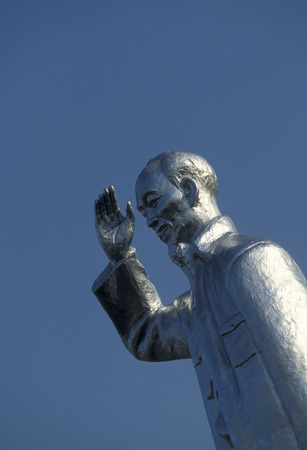 can tho: a statue of Ho Chi minh in the city of can tho in Vietnam