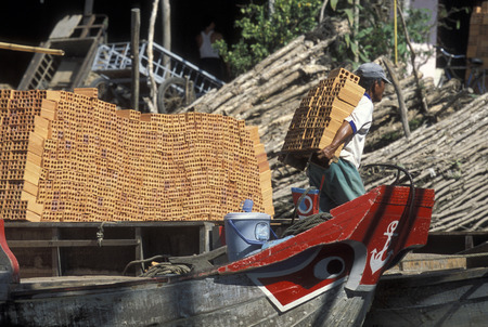 mekong river: a Transport Boat on the Mekong River near the city of Can Tho in the Mekong Delta in Vietnam