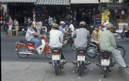 trafic: people on the motobike in the city of ho chi minh city in Vietnam