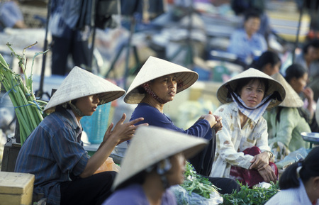 people at a market in the city of ho chi minh city in Vietnam
