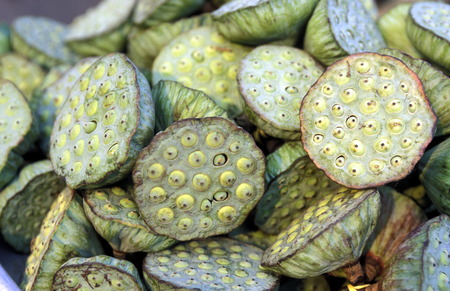 can tho: Lotus flowers at the Flooting Market on the Mekong River near the city of Can Tho in the Mekong Delta in Vietnam Stock Photo
