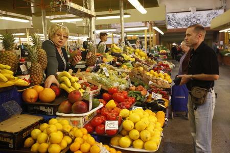 riga: the fishmarket in the Riga Centralmarket in the city of riga in latvia in the baltic region in europe. Editorial