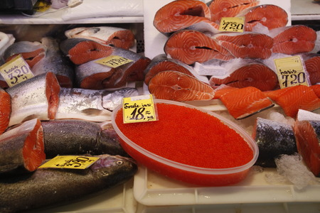 city fish market: the fishmarket in the Riga Centralmarket in the city of riga in latvia in the baltic region in europe. Editorial