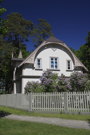 jurmala: a wood house and villa in the town of jurmala east of the city of Riga in latvia in the baltic region in europe.