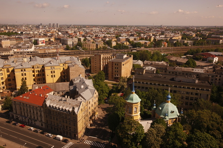 riga: the view over the city of riga in latvia in the baltic region in europe.