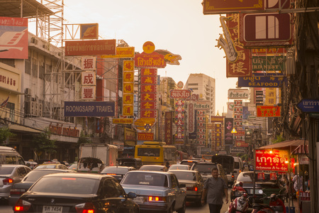 neonlight: the Road at dusk in the China Town in the city of Bangkok on 3.11.2016 in Thailand