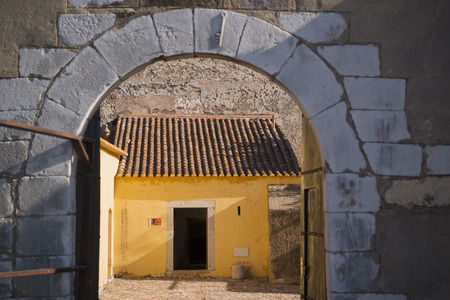 forte: The Castilo in the town of Castro Marim at the east Algarve in the south of Portugal in Europe. Stock Photo