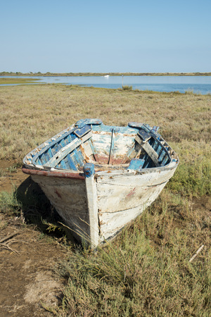 ria: the landscape and nature of the Ria Formosa near the Town of Tavira at the east Algarve in the south of Portugal in Europe.