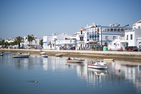 the landscape and coast at the town of Santa Luzia in the Algarve in the south of Portugal in Europe.