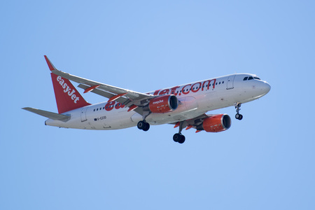 holyday: a airplane of easyjet landing at the Faro airport at the east Algarve in the south of Portugal in Europe.