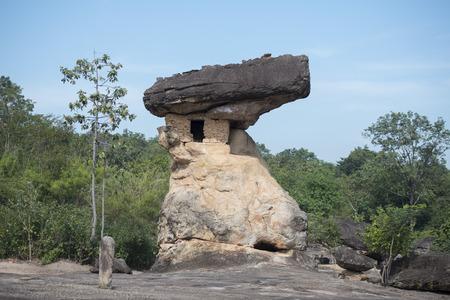 先史時代の洞窟と石公園のプー Phra バット国立公園タイ東北部のイサーンでウドンタニ市付近。