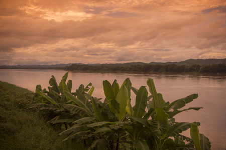 mekong river: the landscape of the mekong river at the town of Chiang Khan in Isan in north east Thailand Stock Photo