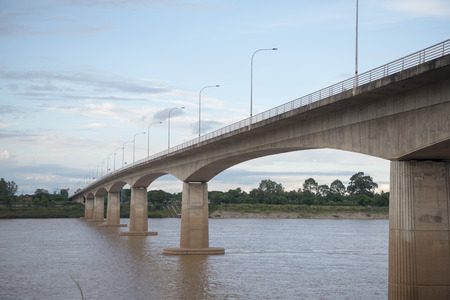 mekong river: the Friendship Bridge at the mekong river in the town of Nong Khai in Isan in north east Thailand on the Border to Laos