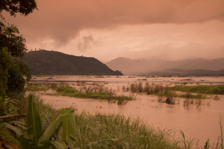 mekong river: the landscape of the mekong river on the road fron the Town Nong Khai to the town of Chiang Khan in Isan in north east Thailand Stock Photo