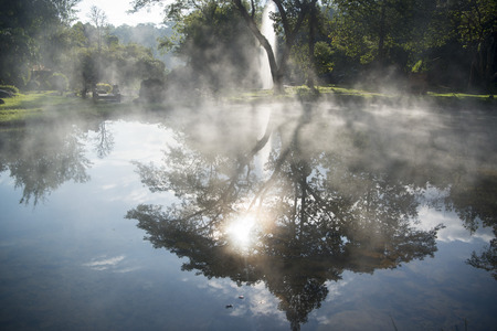 the hot springs in the nationalpark of Chae Son or Jaesorn north of the city of Lampang in North Thailand. Stock Photo