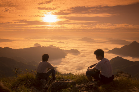fa: People enjoy at the Cliff of Phu Chi Fa in the Chiang Rai Province in North Thailand. Editorial