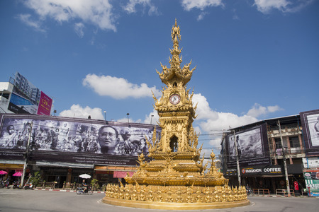 the clock tower in the city Chiang Rai in North Thailand. 新聞圖片