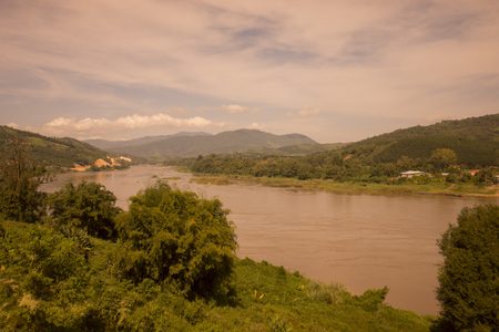 khong river: the landscape of the mekong river at the town of Chiang khong the north of the provinz Chiang Rai in North Thailand.