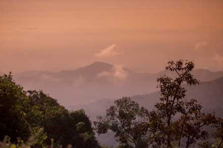 the landscape allround of  Doi Tung north of the city of Chiang Rai in North Thailand. Stock fotó