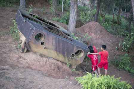 a old  russian tank of the vietnam war near the town of Phonsavan in the province Xieng Khuang in north Lao in southeastasia. Editorial