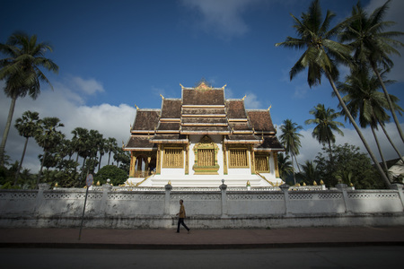 the wat Ho Pha Bang of the royal palace in the town of Luang Prabang in the north of Laos in Southeastasia.