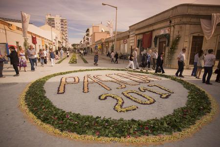 the easter procession Festa das Tochas Flores in the town of Sao Bras de Alportel at the Algarve of Portugal in Europe.