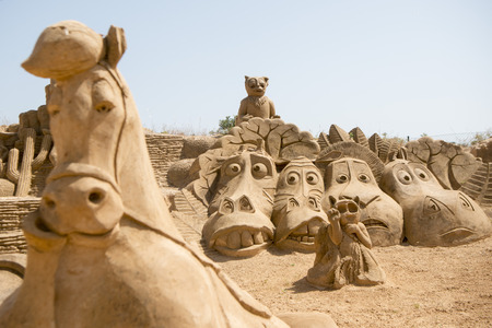 the Sand City or Sand Sculpture Festival FIESA at the Village of Pera at the Algarve of Portugal in Europe.